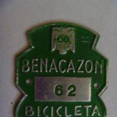 Coches y Motocicletas: PLACA DE BICICLETA DE 1969 . BENACAZON ( SEVILLA ) . CON AGUILA DE FRANCO. Lote 52917399