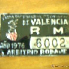 Coches y Motocicletas: MATRICULA TRICICLO DE CARGA DIPUTACION PROVINCIAL DE VALENCIA R M 1976 ARBITRIO RODAJE. Lote 54754794