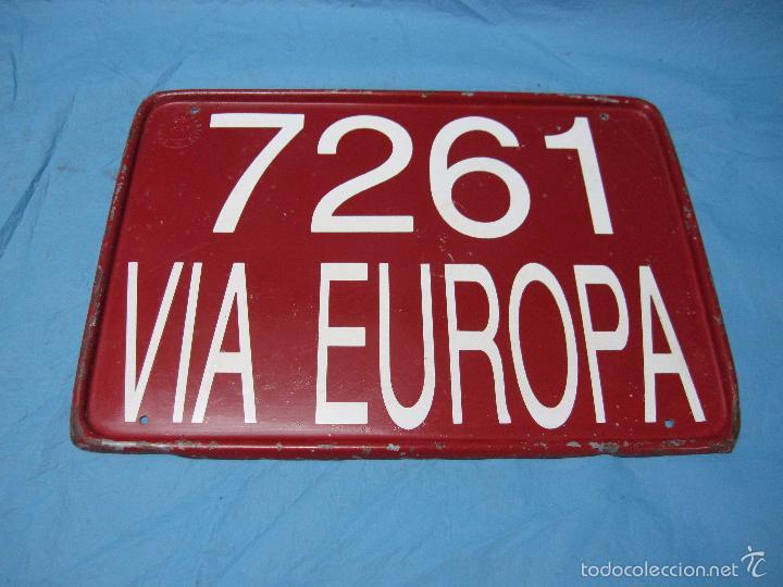 ANTIGUA PLACA CHAPA MATRICULA DE TRANSITO VIA EUROPA ACAP NUMERO 7261 VEHICULO (Coches y Motocicletas - Repuestos y Piezas (antiguos y clásicos))