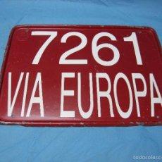 Coches y Motocicletas: ANTIGUA PLACA CHAPA MATRICULA DE TRANSITO VIA EUROPA ACAP NUMERO 7261 VEHICULO. Lote 55150019