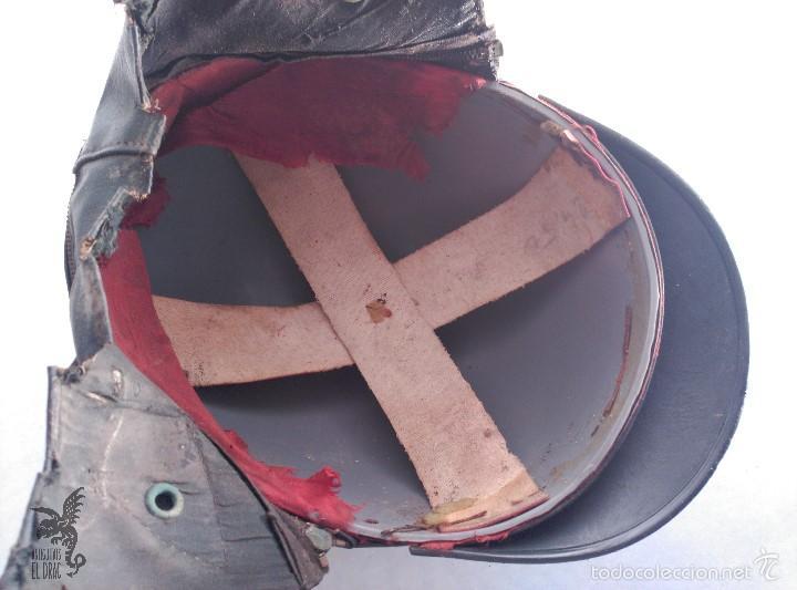 Coches y Motocicletas: CASCO MOTO DE ÉPOCA VISERA OREJERAS COLOR AZUL PARA DECORACIONES URBANAS SHABBY CHIC - Foto 5 - 57580910