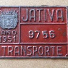 Coches y Motocicletas: MATRICULA CHAPA PLACA TRANSPORTE - NO BICICLETA CARRO AGRICOLA - 1951 - JATIVA (VALENCIA). Lote 58626407