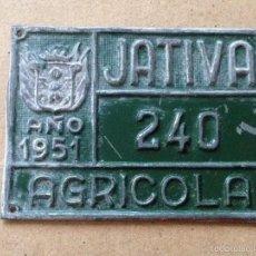 Coches y Motocicletas: MATRICULA CHAPA PLACA AGRICOLA - NO BICICLETA CARRO TRANSPORTE - 1951 - JATIVA (VALENCIA). Lote 58626436