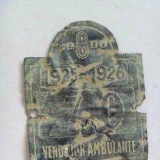 Coches y Motocicletas: PLACA CARRO DE VENDEDOR AMBULANTE DEL AYUNTAMIENTO DE SEVILLA. 1925-26. DE EXCAVACION. Lote 58849061