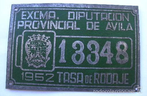 DIPUTACION DE AVILA, MATRICULA O TASA 1952, Nº 13348, MIDE 10 X 6,5 CMS. REALIZADA EN CHAPA. (Coches y Motocicletas - Repuestos y Piezas (antiguos y clásicos))