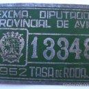 Coches y Motocicletas: DIPUTACION DE AVILA, MATRICULA O TASA 1952, Nº 13348, MIDE 10 X 6,5 CMS. REALIZADA EN CHAPA.. Lote 60430175