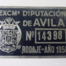 Coches y Motocicletas: CHAPA O PLACA MATRICULA TASA DE RODAJE DIPUTACION PROVINCIAL DE AVILA 1956 (CARRO O CARRUAJE). Lote 61743824