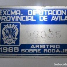 Coches y Motocicletas: CHAPA O PLACA MATRICULA TASA DE RODAJE DIPUTACION PROVINCIAL DE AVILA 1968 (CARRO O CARRUAJE). Lote 61743896