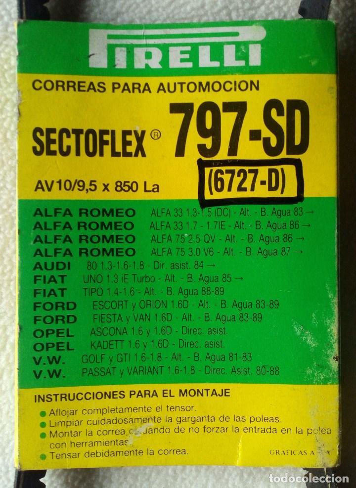CORREA PIRELLI SECTOFLEX 797-SD , 6727-D , AV 10 / 9,5 X 850 LA , VER ANUNCIO PARA MODELOS DE COCHE (Coches y Motocicletas - Repuestos y Piezas (antiguos y clásicos))