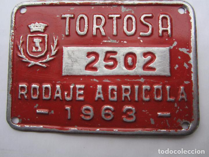 CHAPA DE ARBITRIO , RODAJE AGRICOLA , TORTOSA 1963 , --TARRAGONA (Coches y Motocicletas - Repuestos y Piezas (antiguos y clásicos))