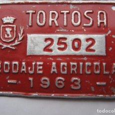 Coches y Motocicletas: CHAPA DE ARBITRIO , RODAJE AGRICOLA , TORTOSA 1963 , --TARRAGONA. Lote 69746837
