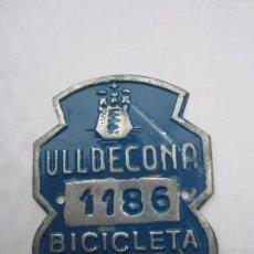 Coches y Motocicletas: CHAPA DE ARBITRIO , BICICLETA , ULLDECONA 1962 MONTSIA - TARRAGONA. Lote 69747025