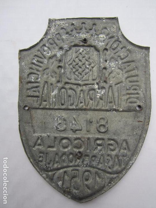 Coches y Motocicletas: chapa de arbitrio , tasa de rodaje agricola , tarragona 1951 - Foto 2 - 69747261