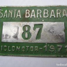 Coches y Motocicletas: CHAPA DE ARBITRIO , CICLOMOTOR, SANTA BARBARA 1971 , MONTSIA , - TARRAGONA. Lote 69747609