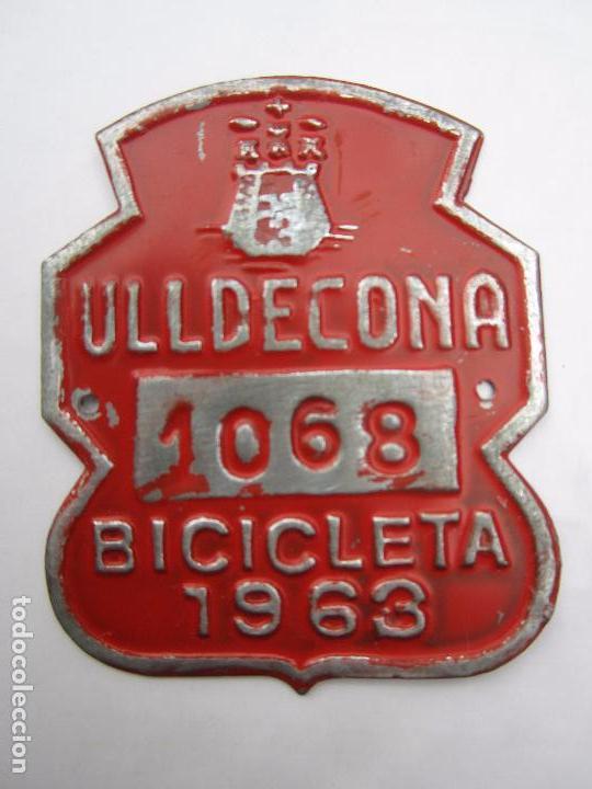 CHAPA DE ARBITRIO , BICICLETA , ULLDECONA 1963 MONTSIA - TARRAGONA (Coches y Motocicletas - Repuestos y Piezas (antiguos y clásicos))