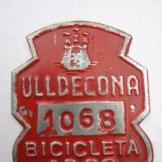 Coches y Motocicletas: CHAPA DE ARBITRIO , BICICLETA , ULLDECONA 1963 MONTSIA - TARRAGONA. Lote 69748049