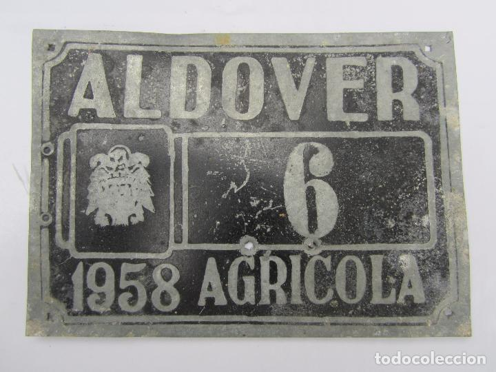 CHAPA DE ARBITRIO , AGRICOLA 6 ALDOVER 1958 - TARRAGONA (Coches y Motocicletas - Repuestos y Piezas (antiguos y clásicos))