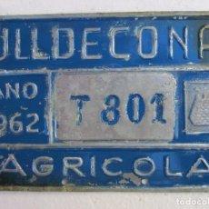 Coches y Motocicletas: CHAPA DE ARBITRIO , AGRICOLA , ULLDECONA 1962 MONTSIA - TARRAGONA. Lote 70013033