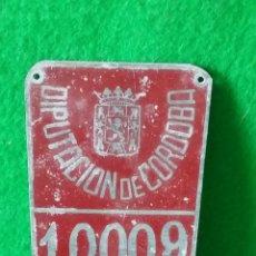 Coches y Motocicletas: MATRICULA DE RODAJE DIPUTACION DE CORDOBA AÑO 1958. Lote 85447032