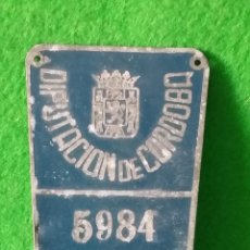 Coches y Motocicletas: MATRICULA DE RODAJE DIPUTACION DE CORDOBA AÑO 1956. Lote 137465814