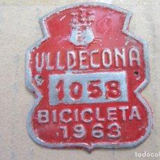 Coches y Motocicletas: CHAPA DE ARBITRIO BICICLETA 1963 , ULLDECONA . Lote 87381312