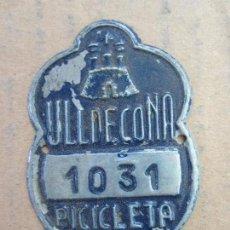 Coches y Motocicletas: CHAPA DE ARBITRIO BICICLETA 1965 , ULLDECONA . Lote 87381428