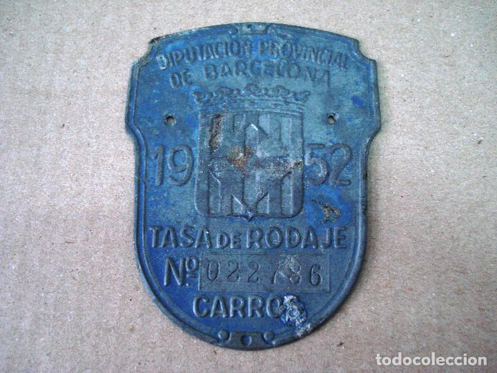 PLACA O CHAPA DE ARBITRIO RODAJE BARCELONA AÑO 1952 (Coches y Motocicletas - Repuestos y Piezas (antiguos y clásicos))