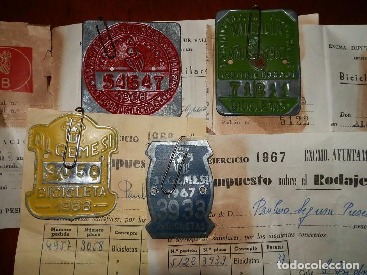 IMPUESTOS MUNICIPALES Y PROVINCIALES BICICLETAS,AYUNTAMIENTO ALGEMESI,DIPUTACION DE VALENCIA.1967-68 (Coches y Motocicletas - Repuestos y Piezas (antiguos y clásicos))
