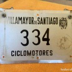 Coches y Motocicletas: PLACA MATRICULA VILLAMAYOR DE SANTIAGO CICLOMOTOR CUENCA LA MANCHA FRANCO ESCUDO FRANQUISTA . Lote 94979343