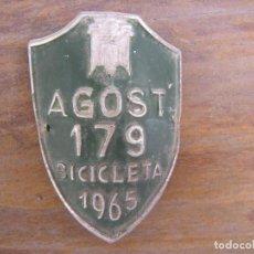 Coches y Motocicletas: MATRICULA DE BICICLETA AGOST ALICANTE 1965. Lote 95097587