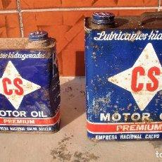 Coches y Motocicletas: LATAS ACEITE LUBRICANTES HIDROGENADOS, MOTOR OIL CS, PREMIUM, DE 2 Y 5 LITROS, CON TAPÓN.. Lote 95981259