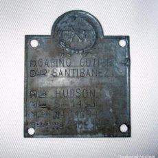 Coches y Motocicletas: PLACA DE IDENTIFICACÓN DE AUTO HUDSON DE 1923. MATRÍCULA S-1493.. Lote 96109967