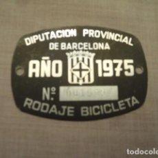 Coches y Motocicletas: PLACA DE RODAJE BICICLETA DIPUTACION PROVINCIAL DE BARCELONA 1975. Lote 104889623