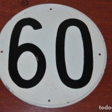 Coches y Motocicletas: CHAPA DE MATRÍCULA PARA CAMIÓN - BUS - PLACA LÍMITE VELOCIDAD 60 - COCHE CLÁSICO - AÑOS 60-70. Lote 107292207