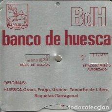 Coches y Motocicletas: ANTIGUO DISCO HORARIO DE APARCAMIENTO. BANCO DE HUESCA. Lote 111691771