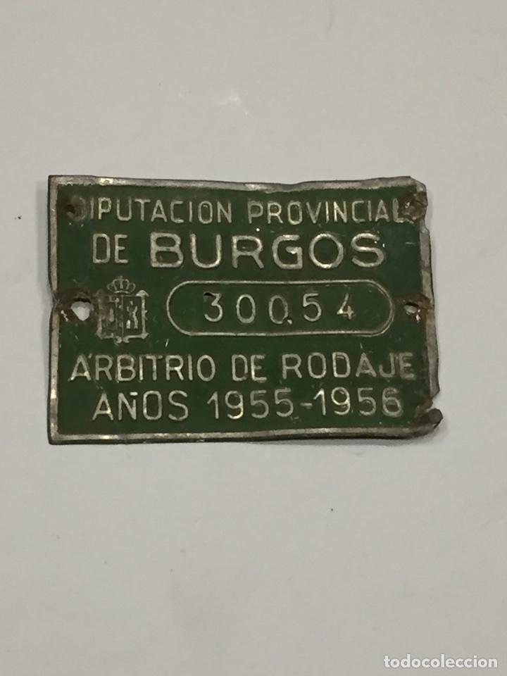 CHAPA ARBITRIO DE RODAJE BURGOS (Coches y Motocicletas - Repuestos y Piezas (antiguos y clásicos))