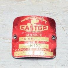 Coches y Motocicletas: CHAPA DE BICICLETA CASTOR PLACA ANTIGUA FRANCESA DE METAL PARA BICI. Lote 114732879