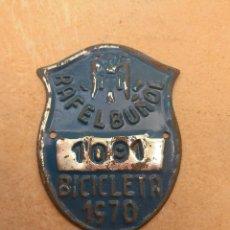 Coches y Motocicletas: MATRÍCULA BICICLETA AÑO 1970 RAFELBUÑOL - VALENCIA. Lote 117839507