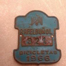 Coches y Motocicletas: MATRÍCULA BICICLETA AÑO 1966 RAFELBUÑOL - VALENCIA. Lote 117839887