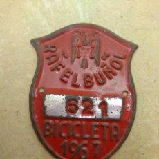 Coches y Motocicletas: MATRÍCULA BICICLETA AÑO 1967 RAFELBUÑOL - VALENCIA. Lote 117839983
