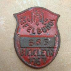 Coches y Motocicletas: MATRÍCULA BICICLETA AÑO 1967 RAFELBUÑOL - VALENCIA. Lote 117840467