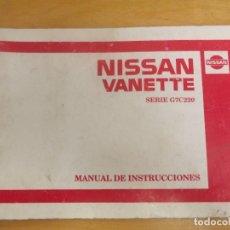 Coches y Motocicletas: MANUAL NISSAN VANETTE. Lote 118604303