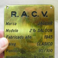 Coches y Motocicletas: JAGUAR:BRITISH CAR- BMC- MINI COOPER- ROLLS,BENTLEY- RARA CHAPA ANTIGUA DE BRONCE-VALENCIA. Lote 120363795