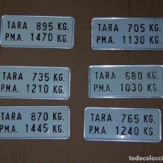 Coches y Motocicletas: PLACAS MATRÍCULA DE PESO TARA COCHE RENAULT ANTIGUAS VARIOS MODELOS 4L // ALUMINIO ORIGINALES. Lote 151080066