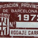 Coches y Motocicletas: PLACA DE MATRICULA CARRO BARCELONA AÑO 1972. Lote 128082327