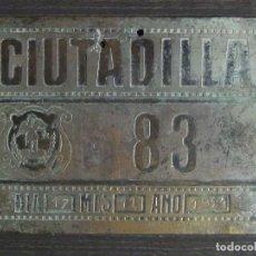 Coches y Motocicletas - Placa chapa metalica matricula de carruaje, CIUTADILLA (Lleída - Lérida Comarca del Urgel), 1921 - 128778083