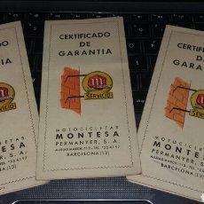 Coches y Motocicletas: LOTE MOTO MONTESA DOCUMENTOS GARANTIA.. Lote 129042970