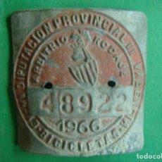 Coches y Motocicletas: CHAPA BICICLETA PROVINCIAL ARBITRIO VALENCIA 1966. Lote 129961887
