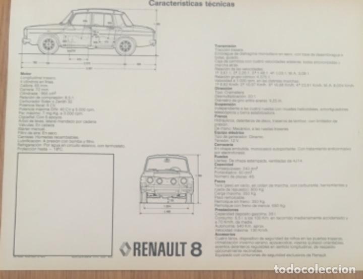 Coches y Motocicletas: Folleto catálogo publicidad original Renault 8 de 1974 - Foto 2 - 194003473