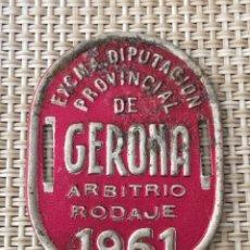 Coches y Motocicletas: PLACA CHAPA BICICLETA MOTO GERONA ARBITRIO RODAJE 1961 GIRONA. Lote 133561558